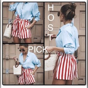 CUTE! High Waisted Red White Striped Tie Shorts